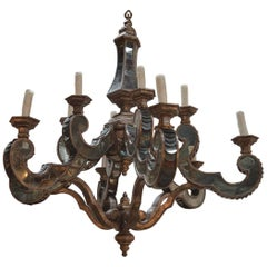 Antique Wood and Mirror Chandelier