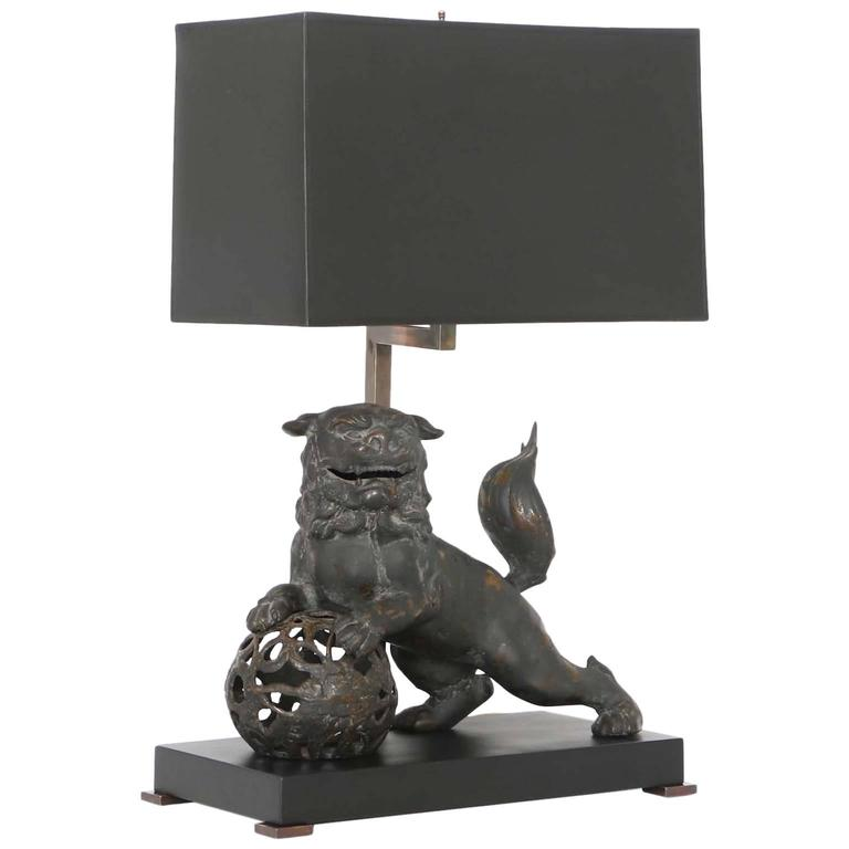 Late 19th Century Chinese Bronze Foo Dog Lamp At 1stdibs
