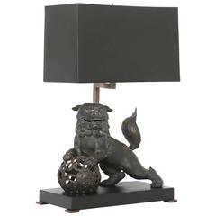 Late 19th Century Chinese Bronze Foo Dog Lamp