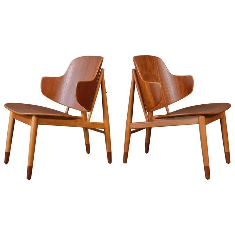 Pair of Teak Shell Lounge Chairs by Kofod Larsen