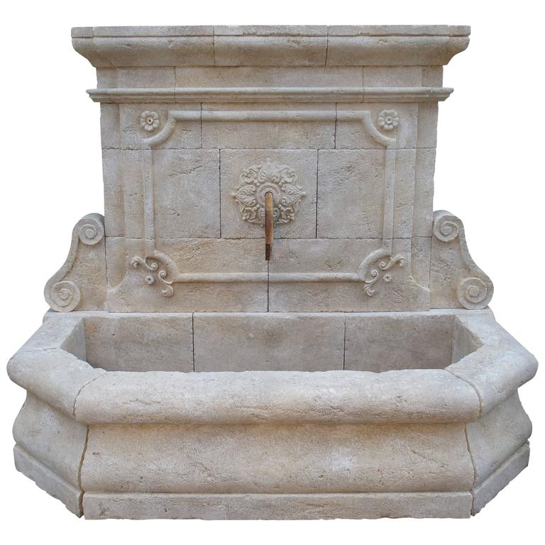 High Stone Wall Garden With Rectangular French Marble: Large Carved Stone Wall Fountain From France At 1stdibs