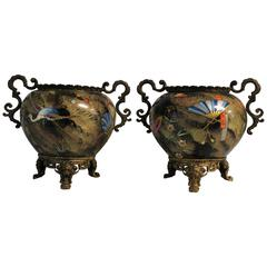 Pair of Japonisme Porcelain and Ormolu Mounted Aesthethic Movement Vase's