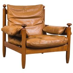 Oak and Leather Armchair in the Style of Maurice Pre