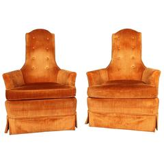 Vintage Hollywood Regency Orange Velvet High Back Pair of Chairs by Perfection