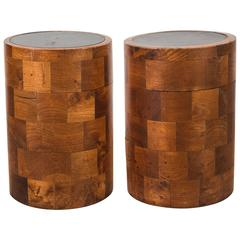Pair of Vintage Parquetry Column Side Tables