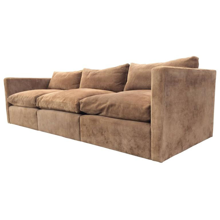 Suede Leather Sofa By Charles Pfister For Knoll