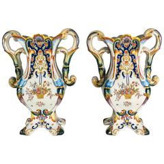 Pair of 19th Century French Faience Desvres Vases