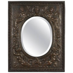 19th Century French Embossed Brass Mirror