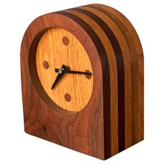 Vintage Walnut and Oak Studio Clock