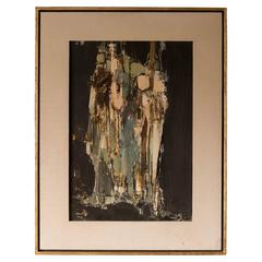 Midcentury Abstract Oil Painting by Pawel Kontny