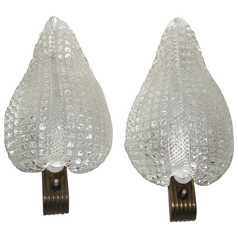 Wall Sconces in Murano Glass and Brass 1940 Barovier e Toso