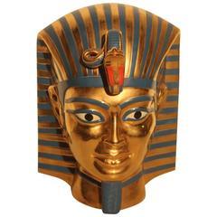 Big Sculpture Egyptian, 1970s Ceramic Italian Design Gold Turquoise