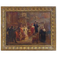 19th Century History Painting Signed and Dated 1845, Depicting Leonardo Da Vinci