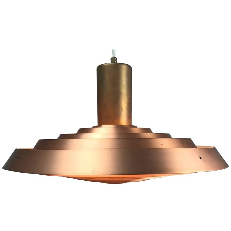 Poul Henningsen Copper Plate Pendant by Louis Poulsen For Sale