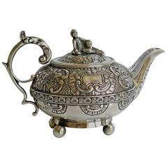 Georgian Bachelors Teapot, Sterling Silver, by Joseph Preedy, London, 1817