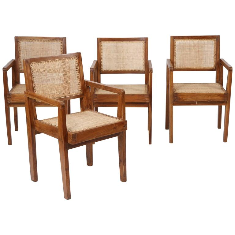"Pierre Jeanneret Set of Four Chairs ""Take Down Armchair"" For Sale"