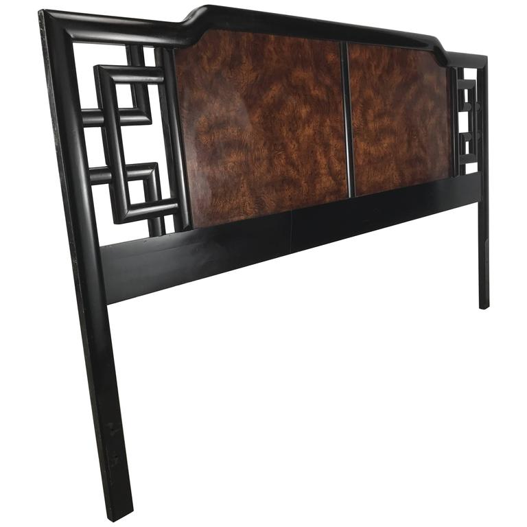 Asian Modern Burl and Lacquer King Head Board /Bed, Manner of James Mont