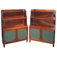 19th Century Mahogany Waterfall Bookshelves with Green Silk Panels