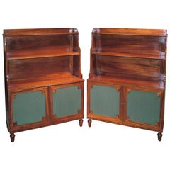 19th Century Mahogany Waterfall Bookshelves with Green Silk Panels