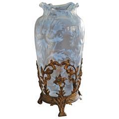 Antique Art Nouveau Iridescent Glass Vase Amazing Design with a Gilt Bronze Base