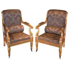 Impressive Pair of Regency Period White Painted and Carved Giltwood Armchairs