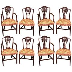 Set of Eight Hepplewhite Period Mahogany Dining Chairs