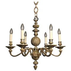 French Silver Six-Light Antique Chandelier