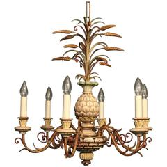 French Polychrome Pineapple Six-Light Chandelier