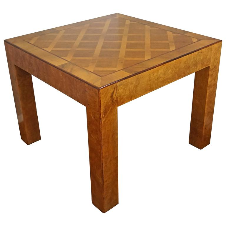 Vintage Italian Design Marquetry Inlaid Burl Coffee or End Table Made in Italy