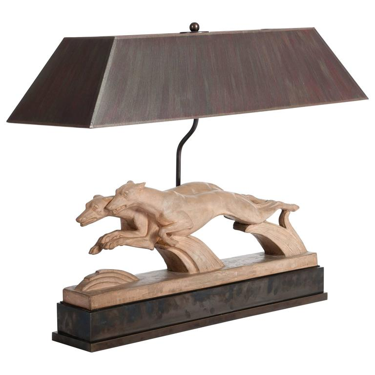 Art Deco Table Lamp Of Greyhounds In Terracotta, Signed H. Bargas Brown  Shade For