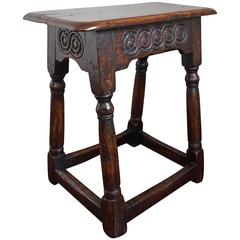 Antique Hand-Crafted and Hand Carved Solid Oak Joint Stool, circa 1800