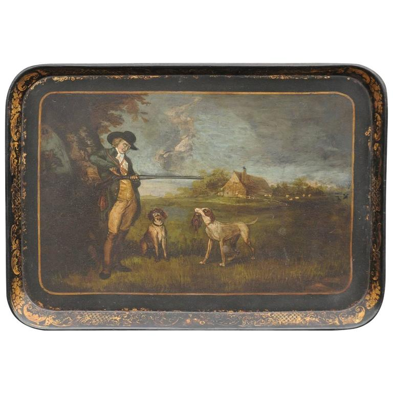 English Painted Wood Tray with Hunter and Dogs from the Mid-19th Century