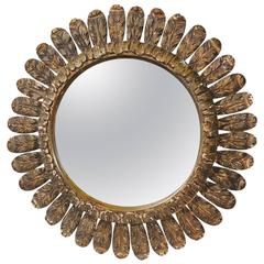 Italian Round Carved Wooden Mirror with Leaf Carving from the Mid-20th Century