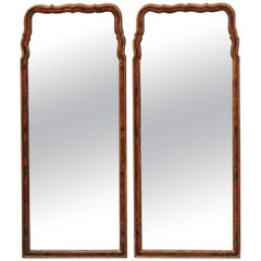 Pair of English Late 19th Century Queen Anne Style Burled Walnut Mirrors