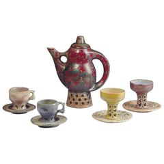 Joseph and Pierre Mougin, a Grès Pitcher with Its Two Pair of Cups and Saucers