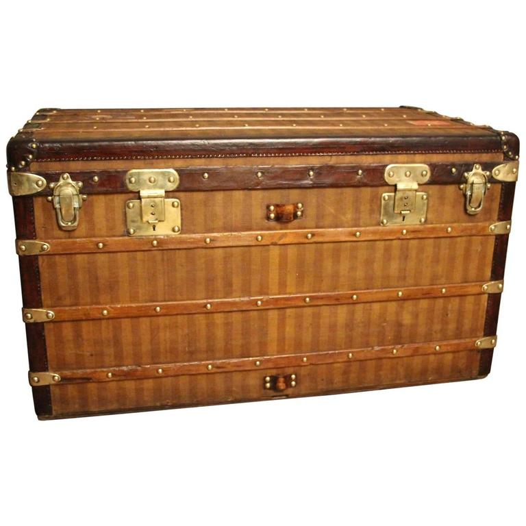 1870s Louis Vuitton Striped Canvas Steamer Trunk.Malle Louis Vuitton