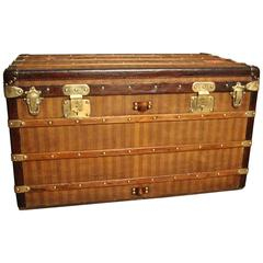 1870s Louis Vuitton Striped Canvas Steamer Trunk