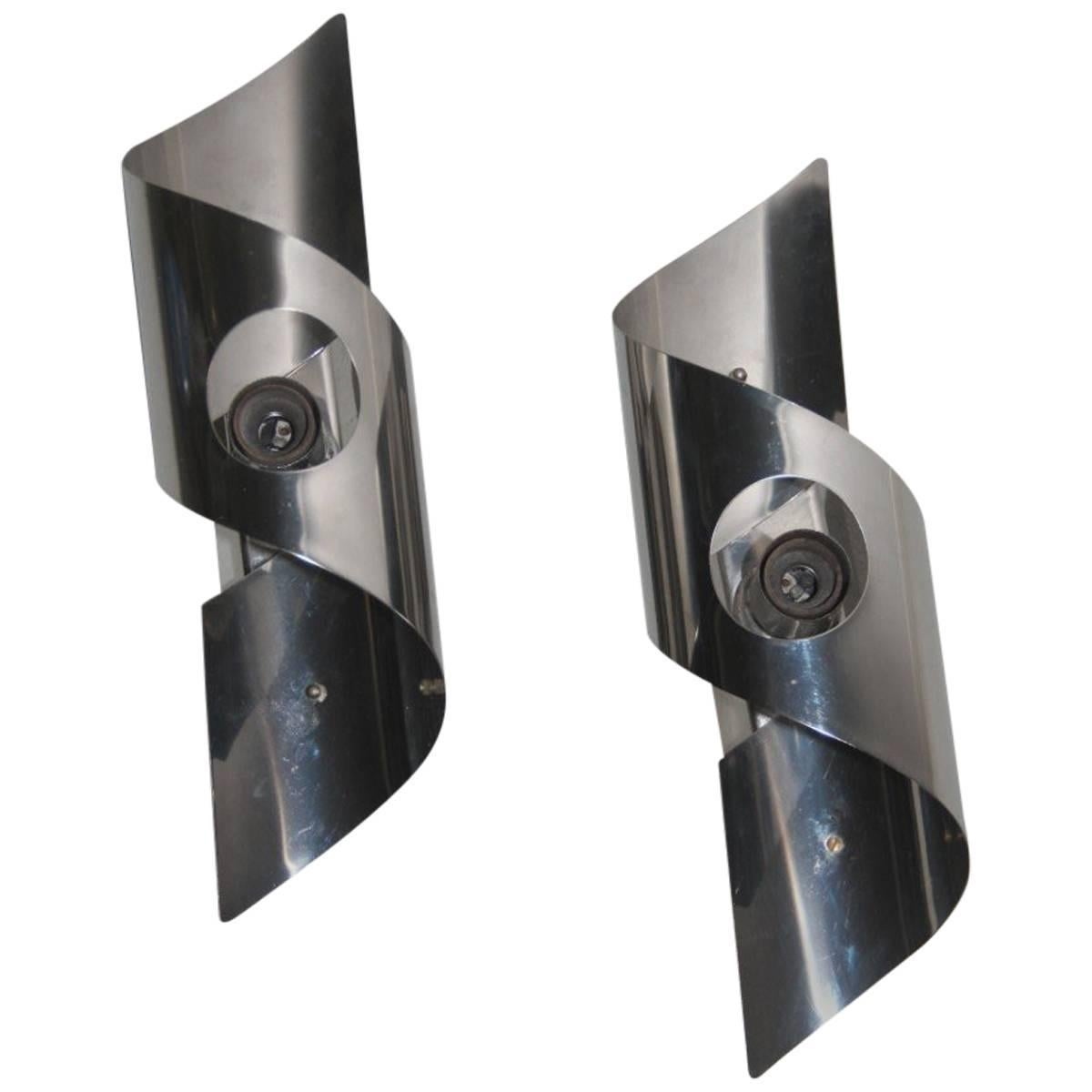 Pop Art Curved Steel Wall Sconces, 1970s
