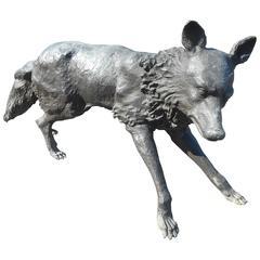 Unique Bronze Wolf Statue
