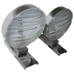 Pair of Wall Sconces Steel Arch Glass