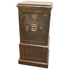19th Century, Black Steel and Iron Safe with All Keys and Working Combination