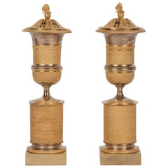 Pair of French Ormolu Bronze Cassolettes or Censers/Candlesticks