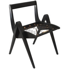 1950s Black Ebonized Compass Side Chair After Allan Gould or Pierre Jeanneret