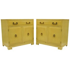Pair Yellow Hollywood Regency James Mont Style Commode Cabinet Chest by Rockford