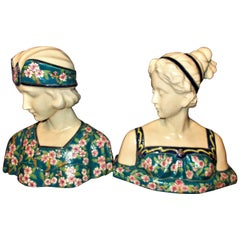 Rare French Art Deco Pair of Busts Signed and Numbered by La Louvière, 1920s