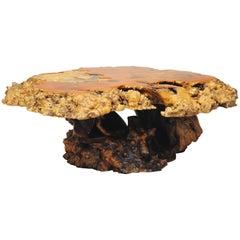 Mid Century Modern California Redwood Burl Wood Slab Live Edge Coffee Table