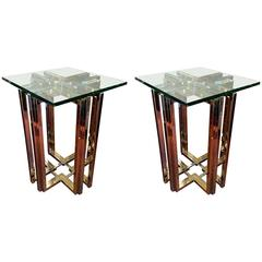 Pair of Brass and Chrome Pierre Cardin End Tables