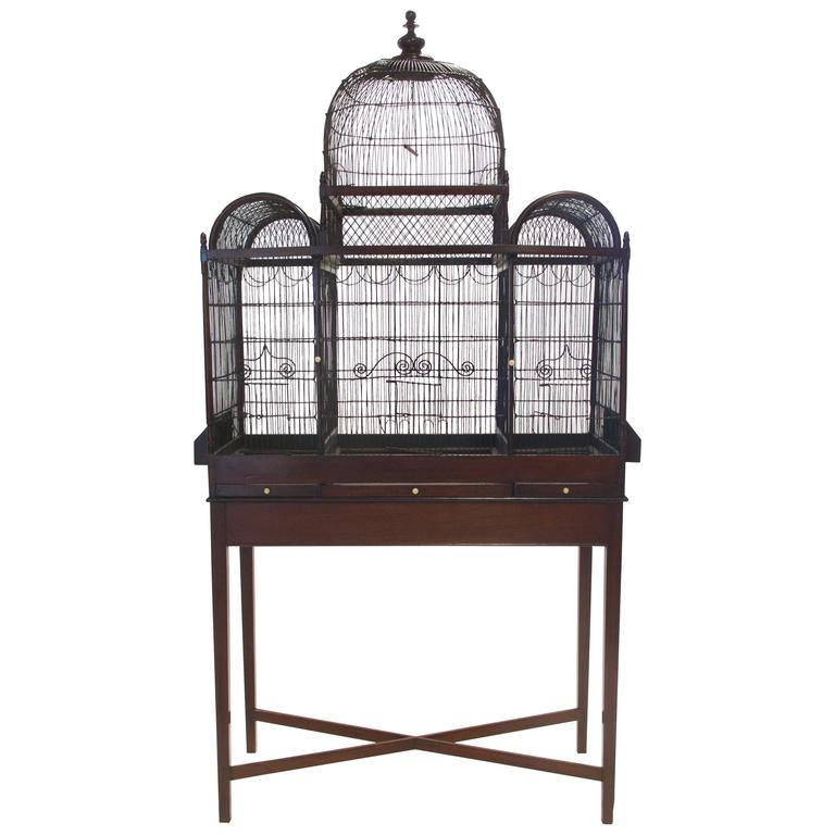 Fine And Rare English George Iii Birdcage On Stand Circa