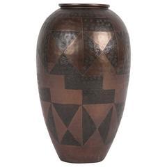 Textured Art Deco Dinanderie Brass Vase