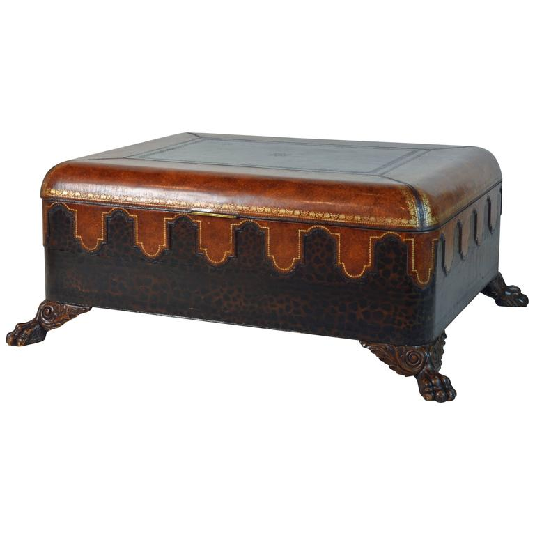 Vintage Maitland Smith Colonial Style Leather Covered Trunk and Coffee Table 1